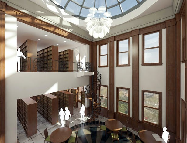 view of museum library