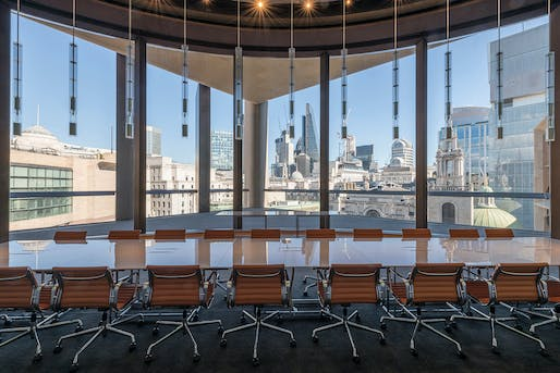 The Walbrook Dining Room offers views of the London skyline. Photo: Nigel Young, Foster + Partners.
