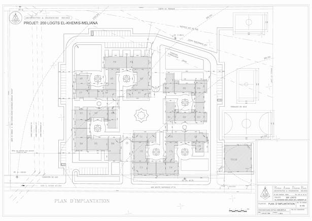 Setting-Out Plan - 200 Social Flats Project El Khemis Miliana ( Algeria)