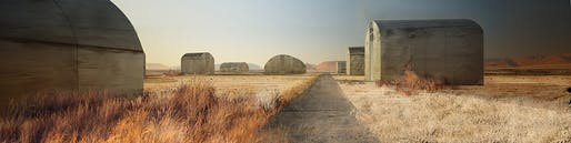 Concrete Buildings, Marfa, TX. Rendering by Nicole Paul Popovich, University of Florida.