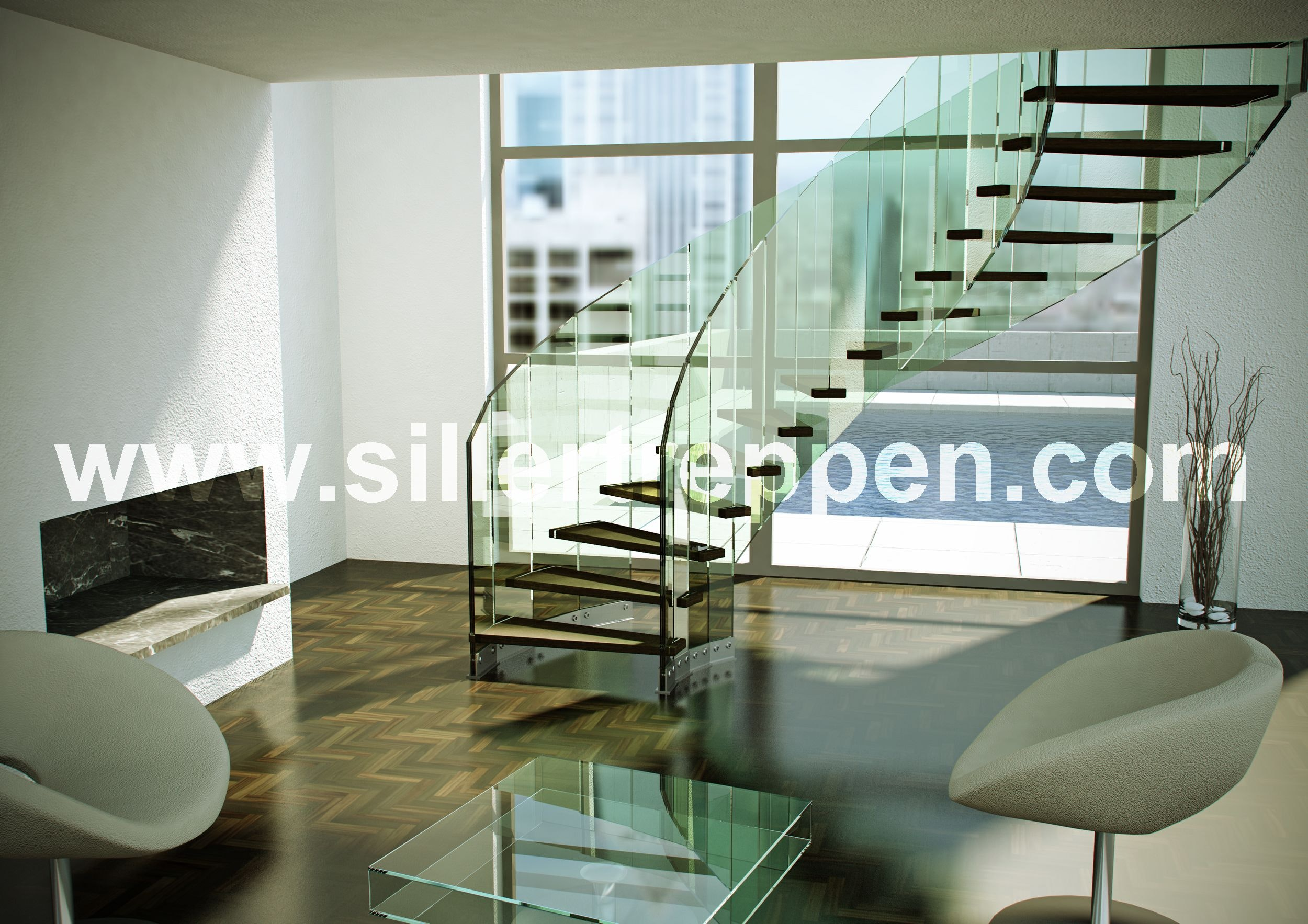 Helical Glass Stair Design