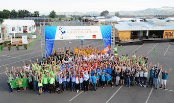 Students endure the final home stretch at the U.S. Solar Decathlon 2015