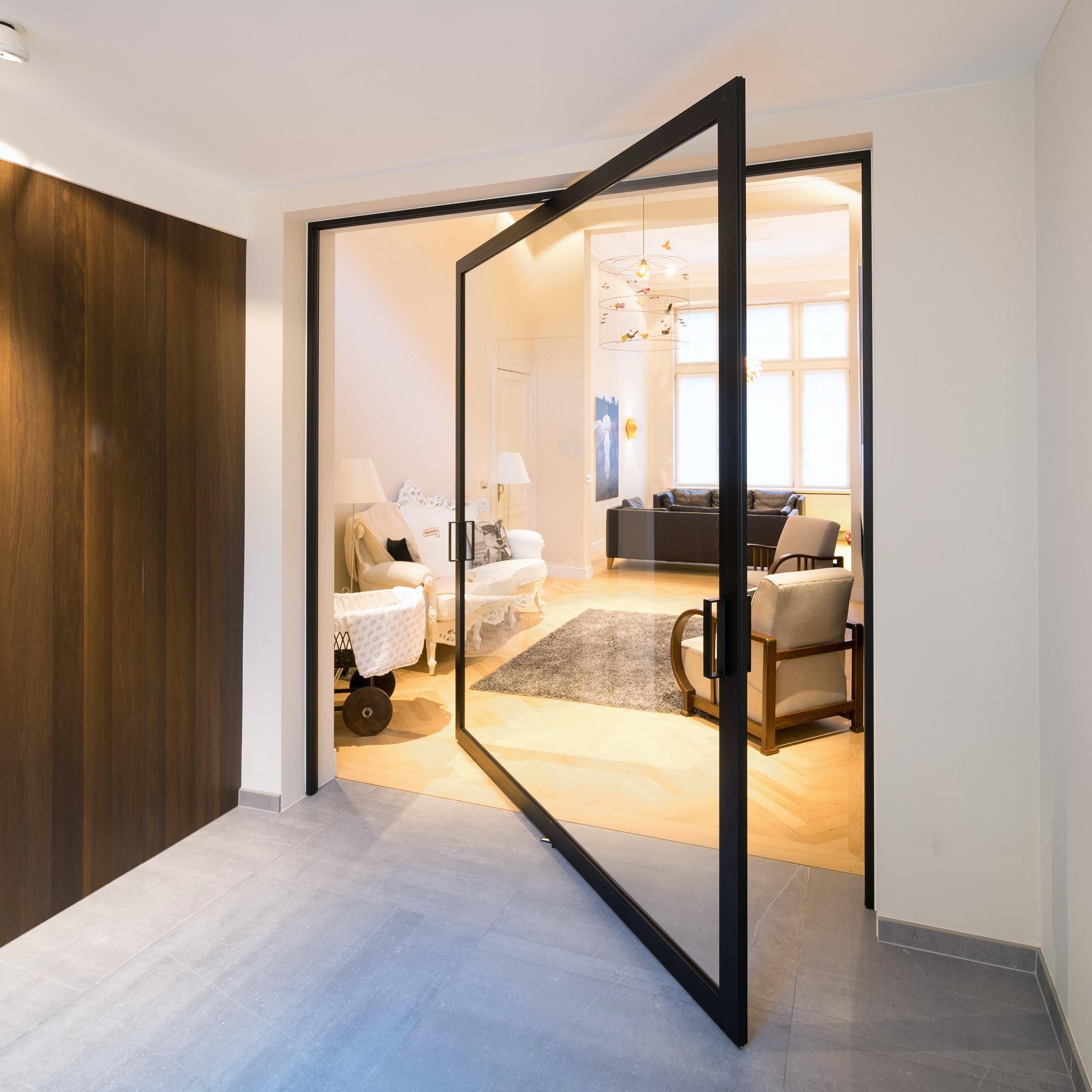 Glass Pivot Door Without Built In Floor Parts