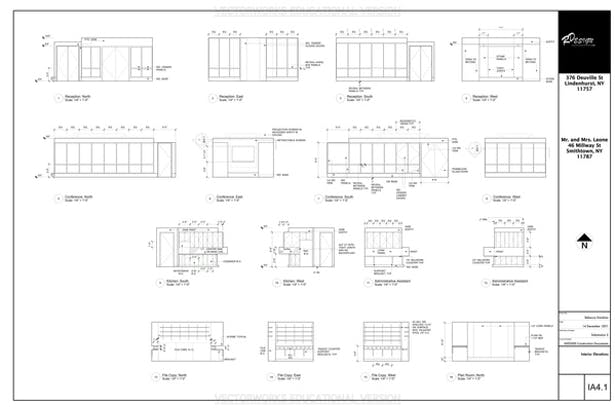 Interior Elevations Sheet - This Page Contains Elevations of the Reception Room, Conference Room, Kitchen, Assistant Areas, File/Copy Room, and Plan Room.