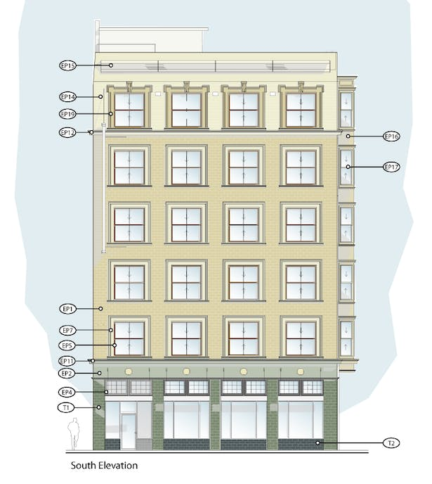 south elevation finishes