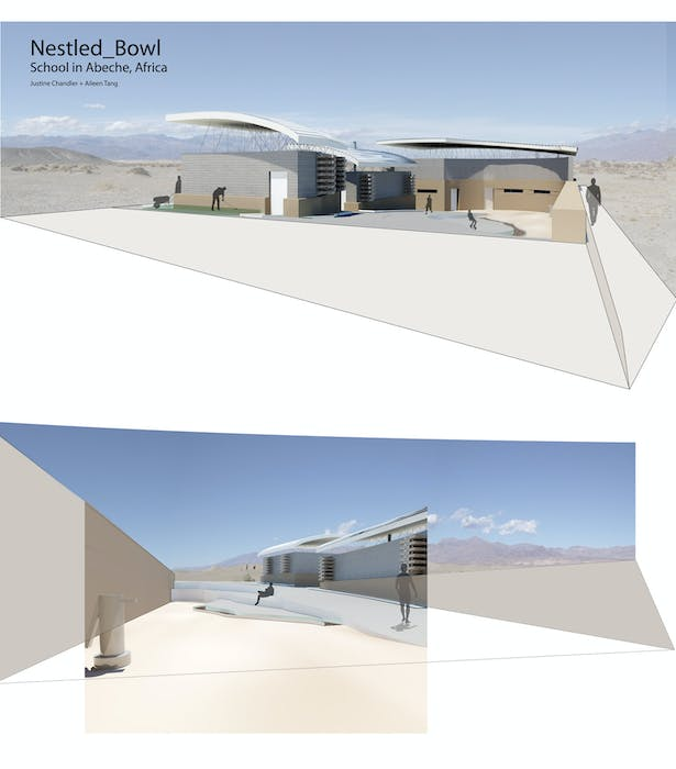 A couple of perspectives to show what the school would look like built.