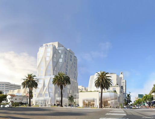 The new 12-story Ocean Avenue Project tower proposal. Image: Gehry Partners, via oceanavenueproject.com.