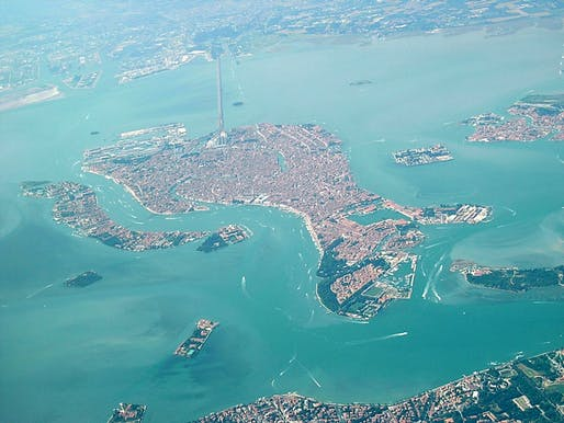 Its unique geographic characteristic makes the Venetian Lagoon - and the embedded historic city of Venice - extremely vulnerable. (Image via Wikipedia)
