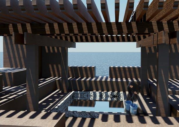 Access to fresh water, open courtyard