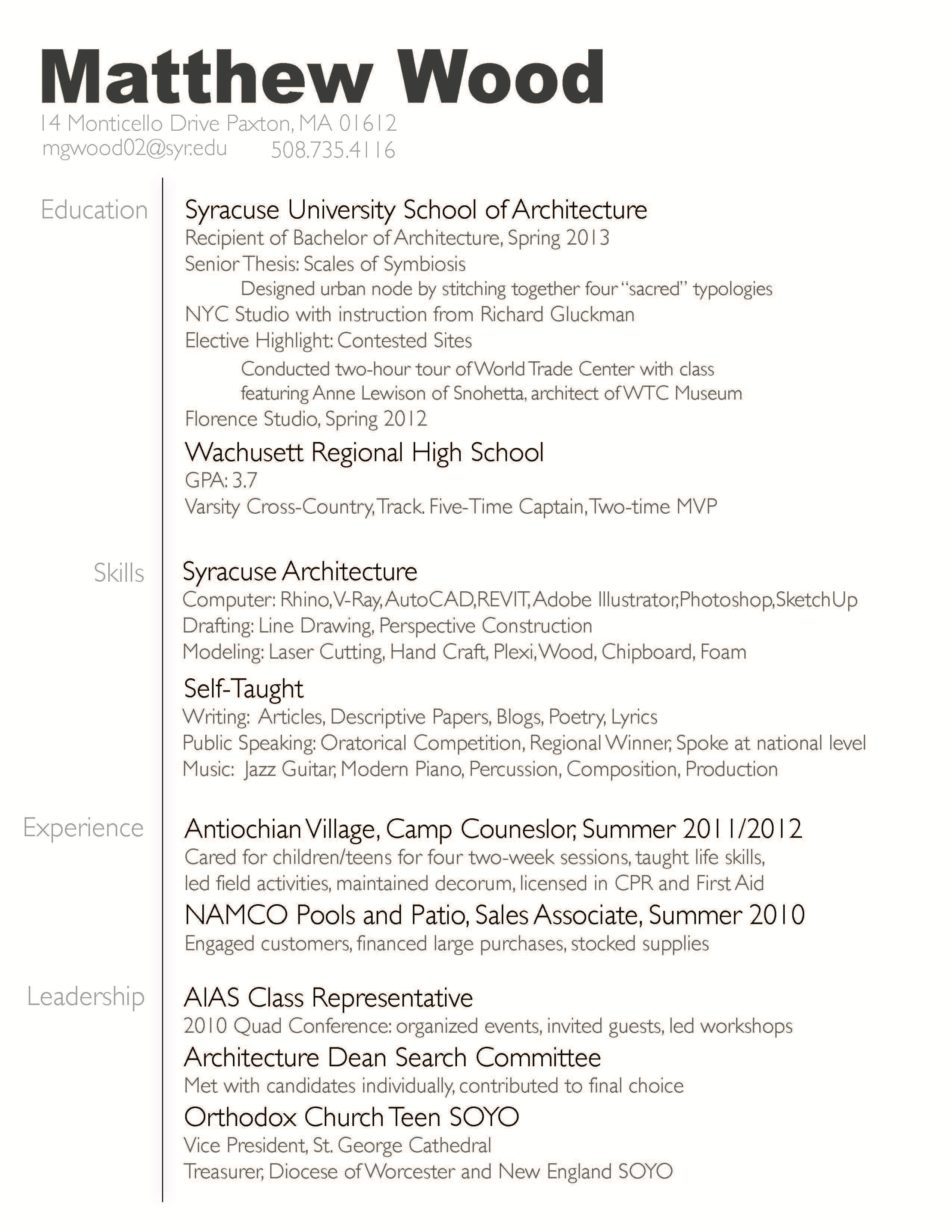 Resume And Sample Work Matthew Wood Archinect