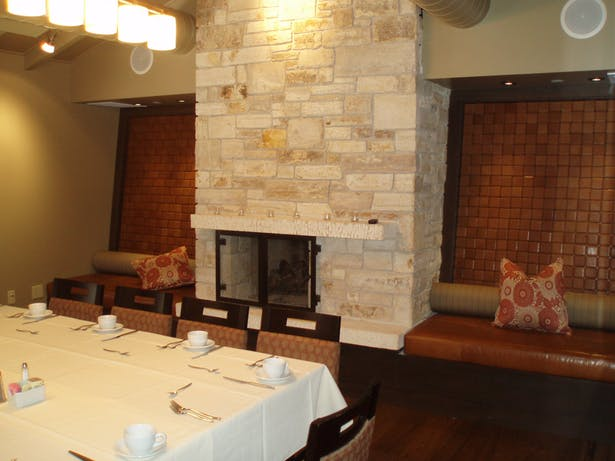 Renovated fireplace at Private Dining