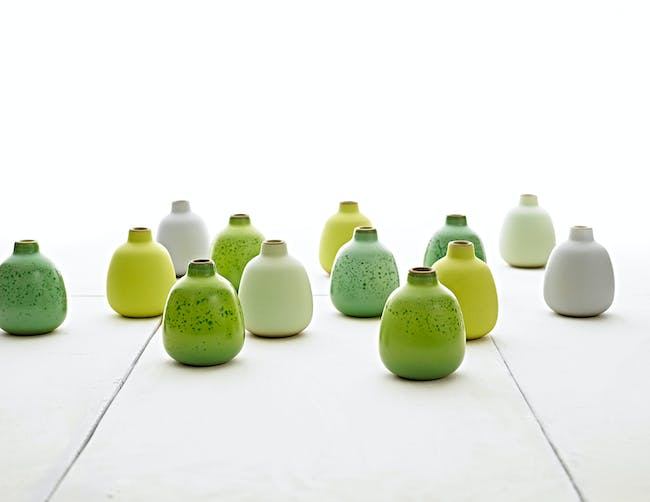 CORPORATE & INSTITUTIONAL ACHIEVEMENT - Heath Ceramics: Summer seasonal bud vases in succulent lime, pomelo, mint, and storm (2007). Photo: Jeffery Cross