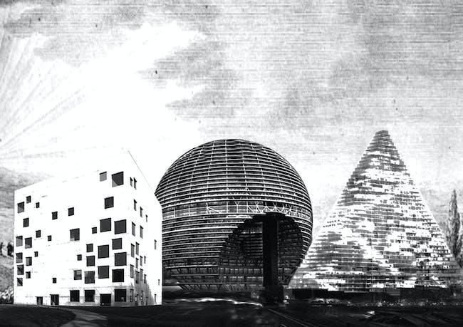 Pure 4 a. School of Management and Design, Sanaa, Zollverein 2006 b. RAK Convention and Exhibition Centre, OMA, Dubai 2008 c. le projet triangle, Herzog & De Meuron, Paris 2008