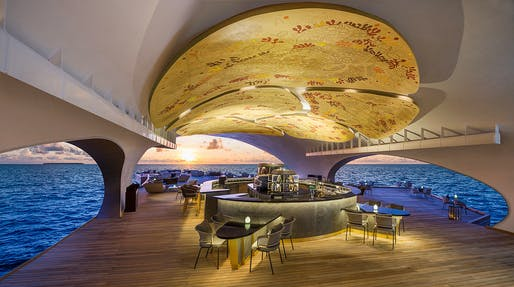 The Whale Bar at Vommuli Island resort Maldives by WOW Architects, shortlisted in the Bars & Restaurants category.