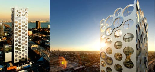 Views of the wind turbines in the COR building in Miami