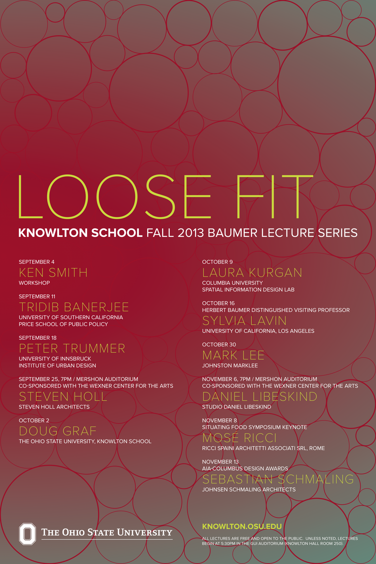 Get Lectured Knowlton School of Architecture Fall