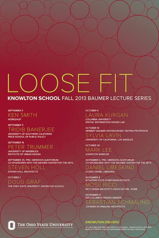 Poster for the 'Loose Fit' lecture series at the Knowlton School of Architecture at Ohio State University. Image from knowlton.osu.edu.