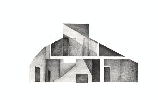Pencil on Arches Paper - Vanna Venturi House