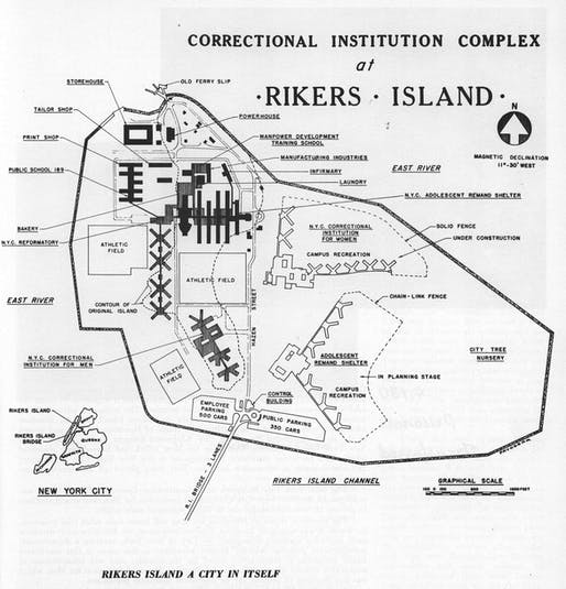 Rikers Island plan. Image: The City of New York Department of Correction, 1966 Annual Report, via urbanomnibus.net.