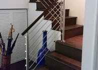 Stainless Steel Rod Railings & Wood Handrail