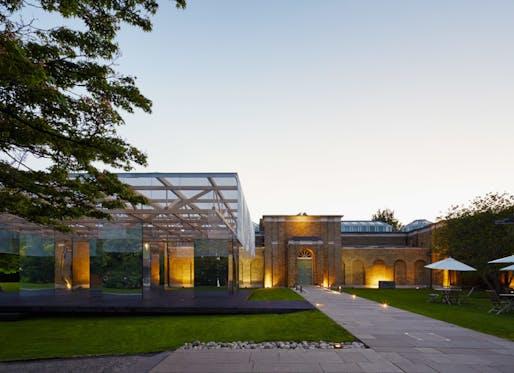 Dulwich Gallery Pavilion at dusk. Image: Joakim Boren