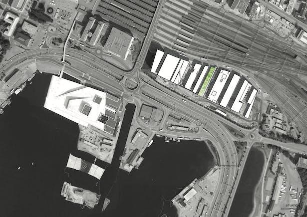 Situation/Barcode roof plan. Copyright © Dark Arkitekter