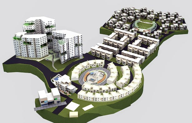 3ds Max rendering of the bird's eye view of the overall complex