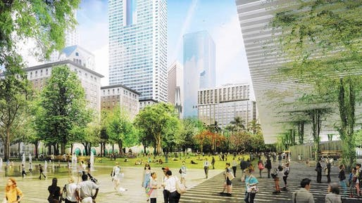Agence TER and SALT Landscape Architects' proposal for the Pershing Square Renewal competition. Credit: Agence TER with SALT Landscape Architects, via L.A. Times.