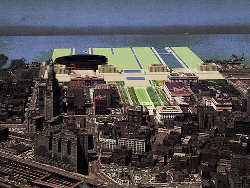 Digital collage of Donald Judd's Cleveland Proposal, Cleveland, Ohio. Image credit: Hector Garcia, University of Florida.