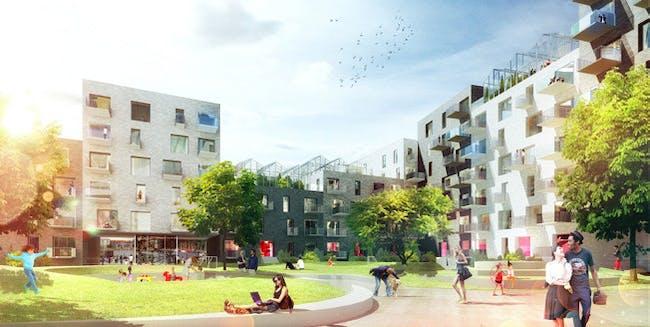 Visual of courtyard (Image: ADEPT/LUPLAU & POULSEN)