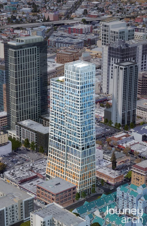 1261 Harrison, Oakland's new tallest tower, sports a brick-to-sky color palette. Credit www.RobertBecker.com and Lowney Architecture