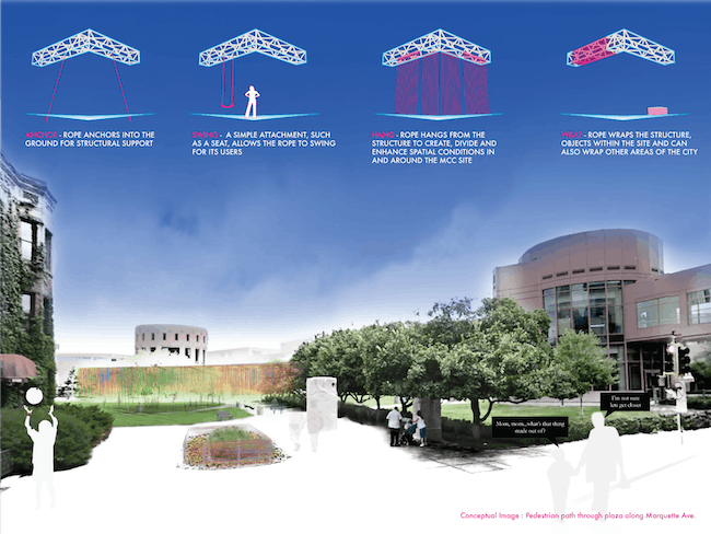 This third image places the installation within the larger context of the MCC plaza and downtown Minneapolis, presenting it as a platform for creative dialogue throughout the summer of 2013.
