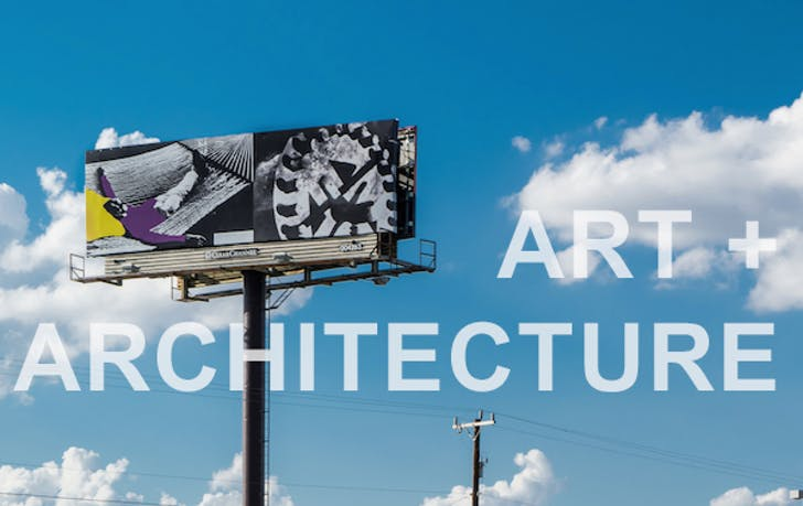 Part of their on-going project Manifest Destiny, LAND has facilitated the erection of a series of artist-designed billboards. The image above is by John Baldessari. Credit: LAND