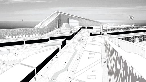 View of central crossing of the central hub island, one of dozens of man-made islands envisioned by Rice University architecture students. Image via npr.org.