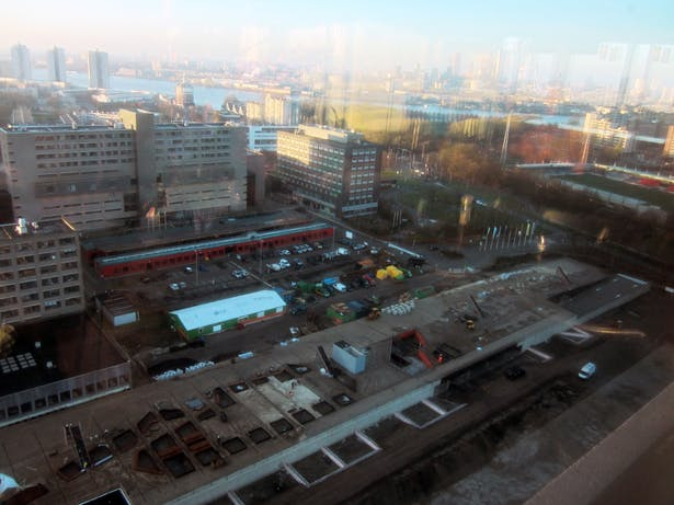 Erasmus Univsersity Campus plaza and mega garage, with the city of Rotterdam in the backdrop