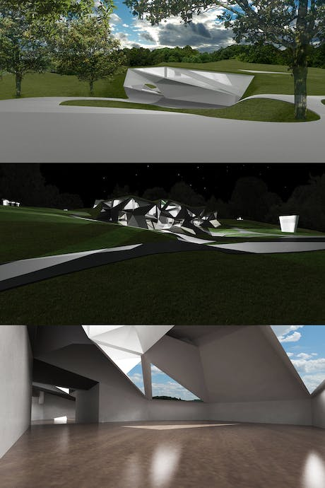 Storm King Artist Residency - site/interior renderings (main entrance, from above (top); south-west facade, from below (middle); interior work space (bottom))