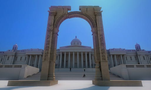 A rendering of the arch installed in Trafalgar Square. Image credit: Institute for Digital Archaeology