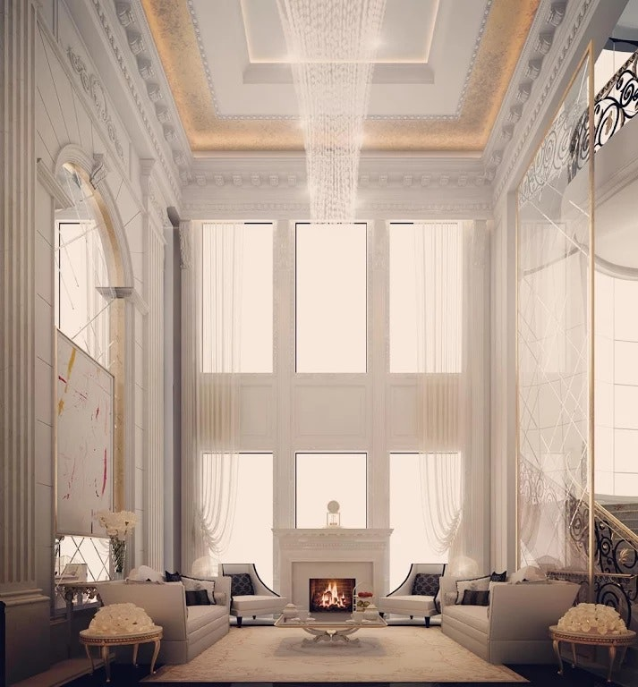 This Lovely Lounge Is Designed For A Private Villa In Qatar. It Is Layout  Symmetrically