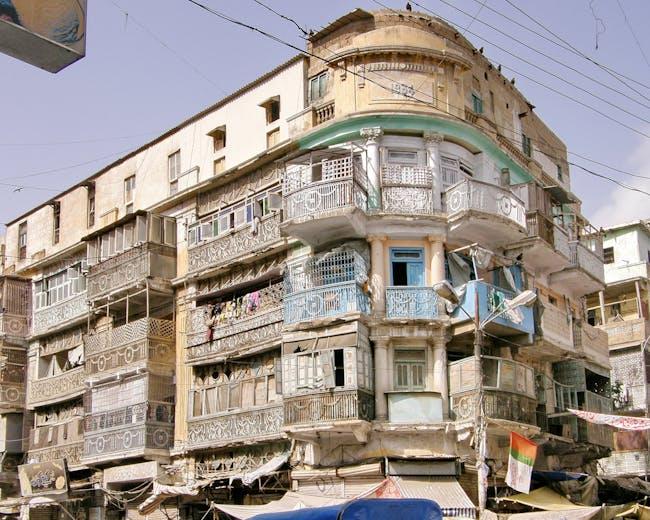 Historic Karachi, Pakistan. The Yousuf Mansion on Muhammad Bin Qasim (originally Burnes) Road, 2011. Photo: HC-DAPNED