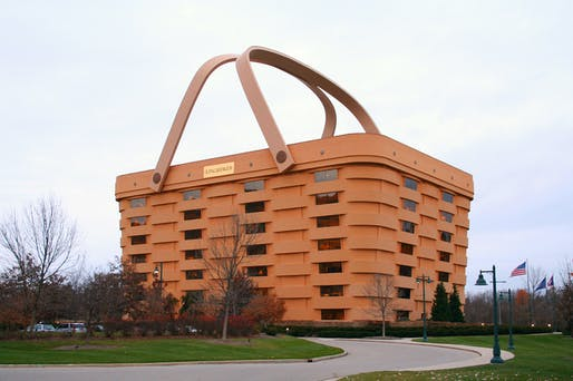 Formerly the Longaberger basket company's Newark, Ohio headquarters, the 1997 structure has stood empty for months and is now facing a new future. Photo: Derek Jensen.