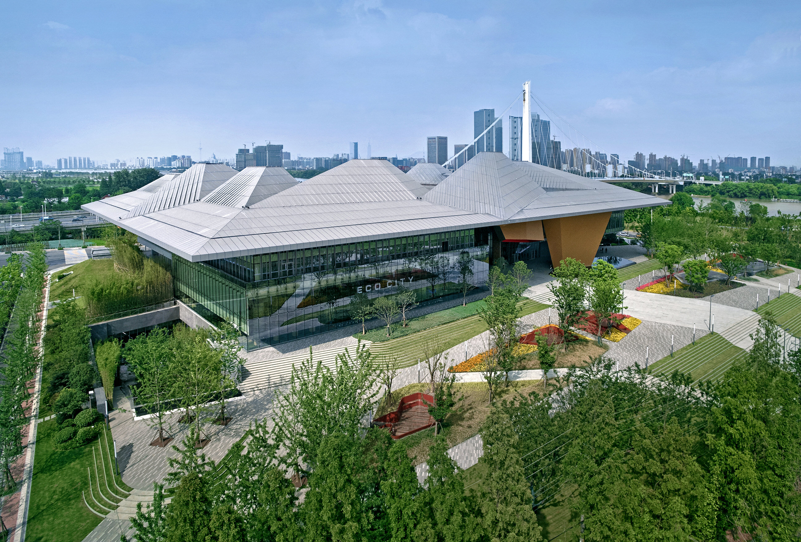 Fabric Exhibition Stand Goal : The quot tectonic bravery of nbbj s nanjing eco tech