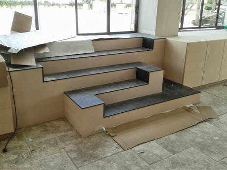 Steel plate and wood stair