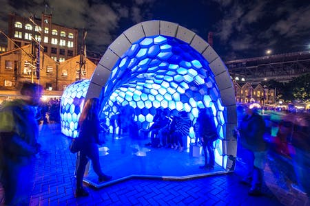Cellular Tessellation on show at the Sydney Vivid Light festival of 2014. Photo by Patrick Boland photography.