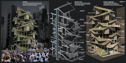 2ND PLACE: Shinto Shrine / Urban Rice Farming Skyscraper by Tony Leung | Hong Kong