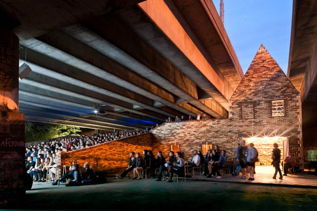 Folly for a Flyover consisted of temporarily installing a folly beneath a highway overpass. Credit: Assemble