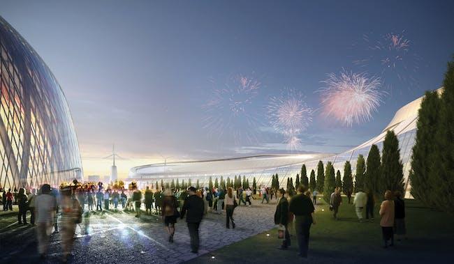Expo grounds. Image © Adrian Smith + Gordon Gill Architecture