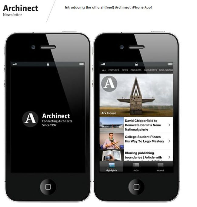 Archinect app screenshot.
