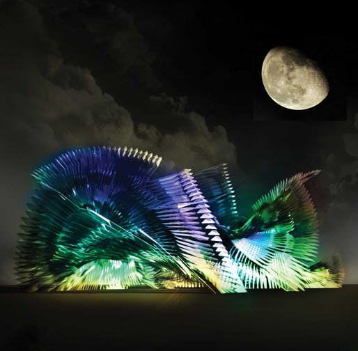 Rendering of pavilion inspired by iridescence of the violet-tailed sylph. Image credit: Joanna-Maria Helinurm, Alina Amiri