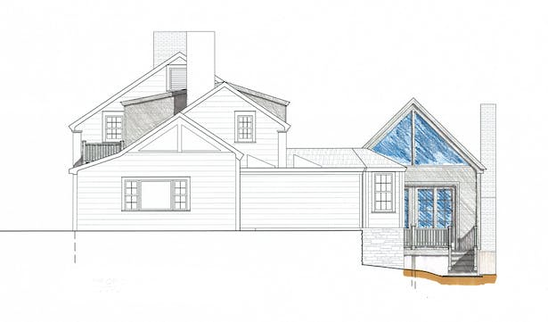 Side Elevation Design Drawing; CAD drafted with Hand Rendering