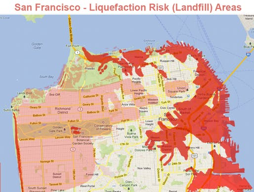 San Francisco seismic hazard zone for liquefaction by the U.S. Geological Survey with the California Geological Survey. Image: U.S. Geological Survey.